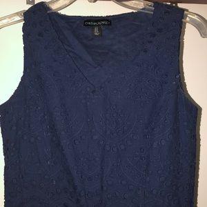 NWOT NAVY EYELET DRESS W POCKETS - 2